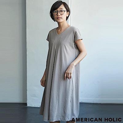 AMERICAN HOLIC 素面打褶連身洋裝