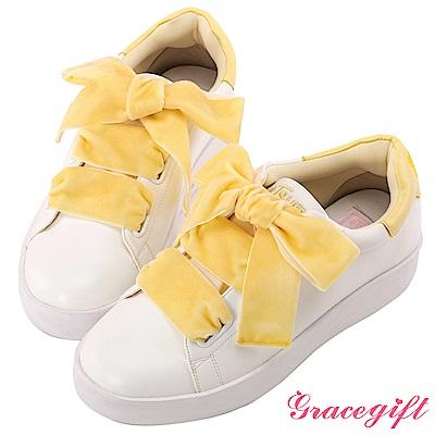 Disney collection by Grace gift蜜桃絨緞帶糖果休閒鞋 黃