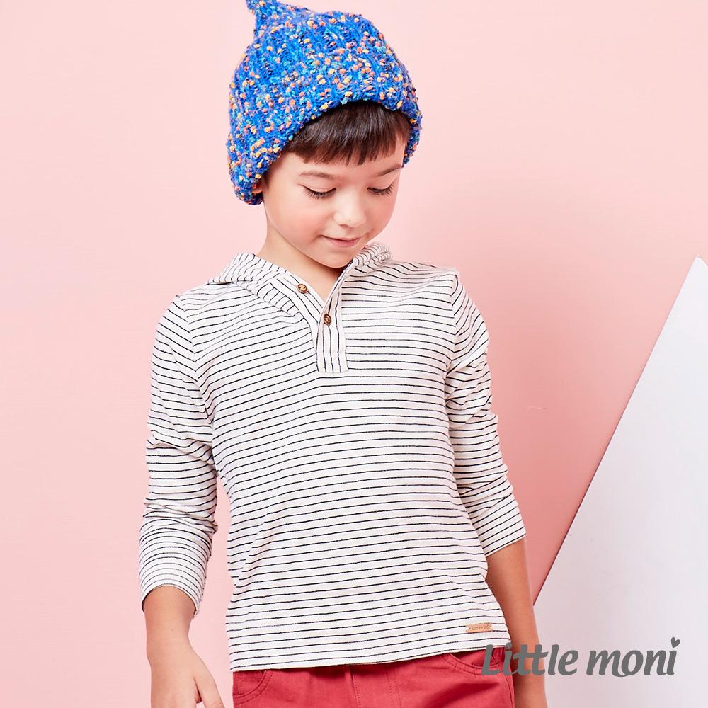 Little moni 英倫風潮連帽條紋棉T 深藍