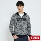 EDWIN 迷彩修紋連帽拉T外套-男-灰色