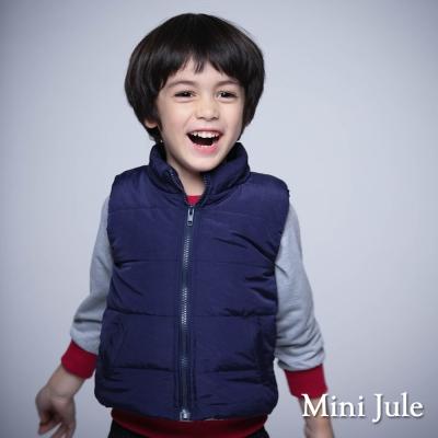 Mini Jule 童裝-鋪棉背心 純色雙口袋拉鍊鋪棉背心(丈青)