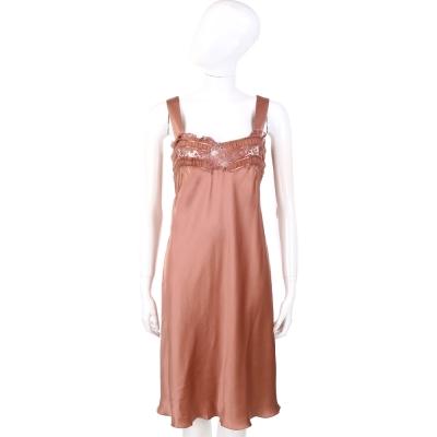 PHILOSOPHY-AF 水蜜桃色蕾絲綴飾絲緞洋裝