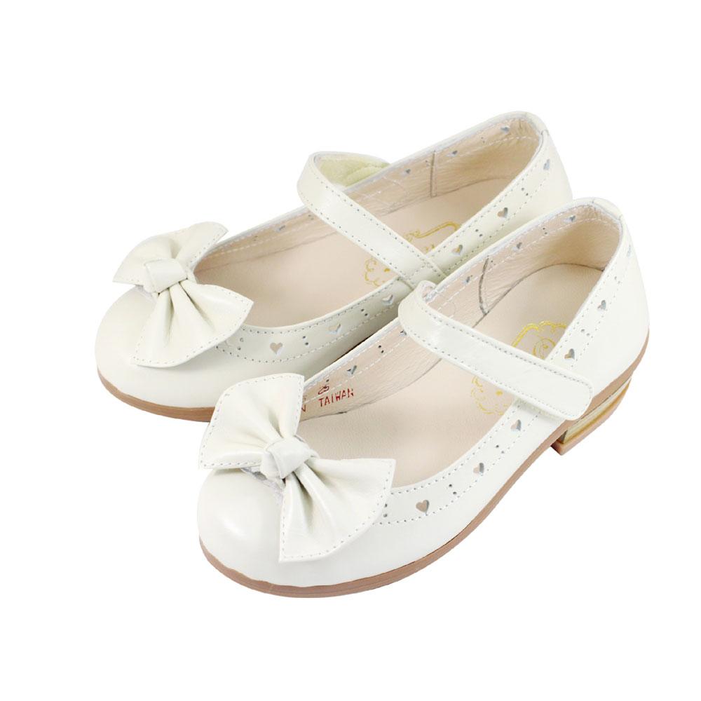 Swan天鵝童鞋-真皮愛心雕花蝴蝶結低跟公主鞋 3828-米