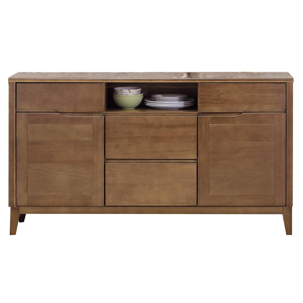 品家居亞多4.9尺胡桃木紋實木餐櫃-147x40.5x82.3cm免組