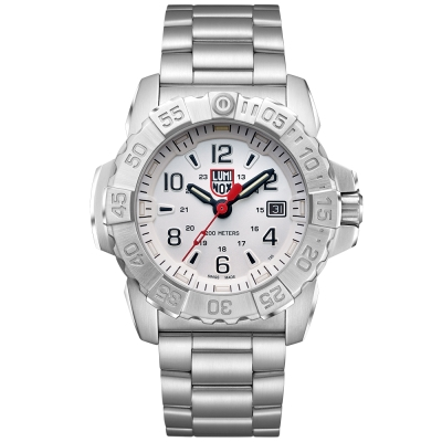 LUMINOX 雷明時NAVY SEAL STEEL 3250全新海豹2代鋼鏈腕錶-白武士