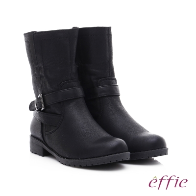 effie 混搭美型 仿麂皮絨布防潑水中筒靴 黑色