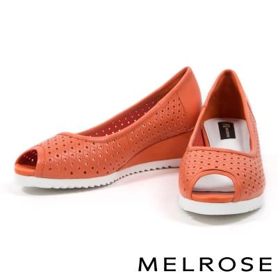 楔型鞋-MELROSE-沖孔羊皮魚口楔型鞋-桔