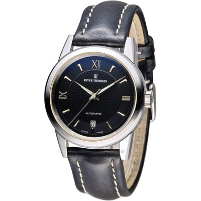 梭曼 REVUE THOMMEN 都會紳士機械錶-黑/38mm