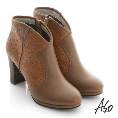 A.S.O 機能美靴 全真皮壓花奈米粗跟踝靴 茶