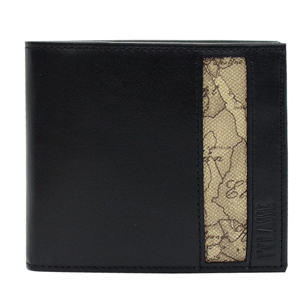 Alviero Martini 義大利地圖包 旅行系列 男用5卡零錢短夾-地圖灰/黑
