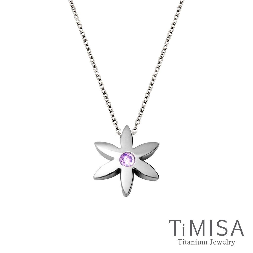 TiMISA 花漾年華-晶鑽(3色可選)純鈦極細鎖骨項鍊B