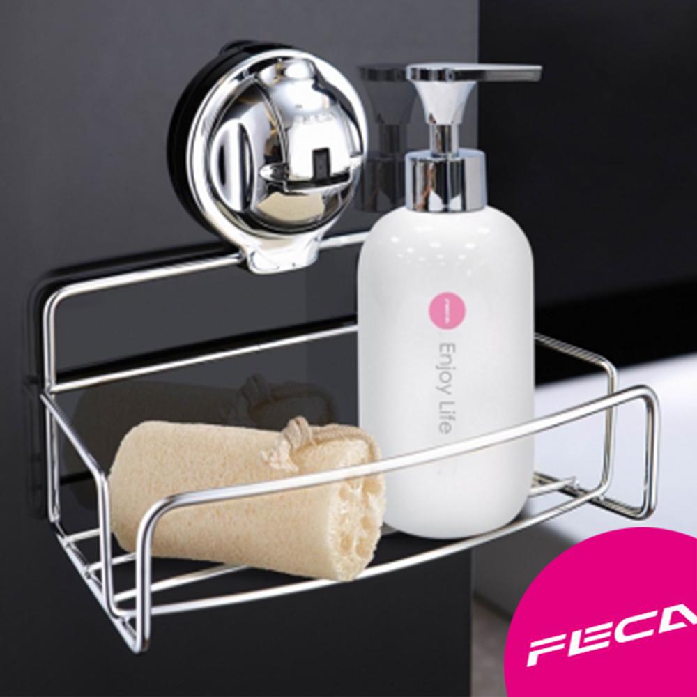 FECA非卡-無痕強力吸盤 伯爵不鏽鋼置物架-XS-銀