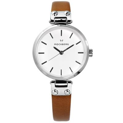 MOCKBERG WERA PETITE 瑞典品牌防水真皮手錶-白x卡其/28mm