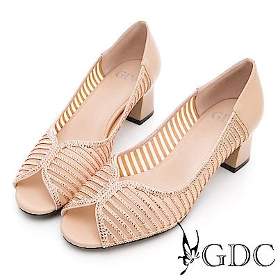 GDC-真皮鑲鑽簍空魚口粗跟鞋-米色