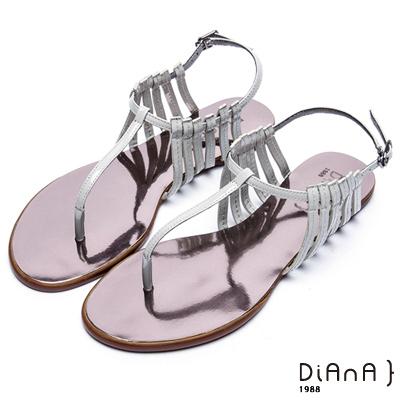 DIANA 摩登時尚--層次細帶線條T字夾腳涼鞋 –灰