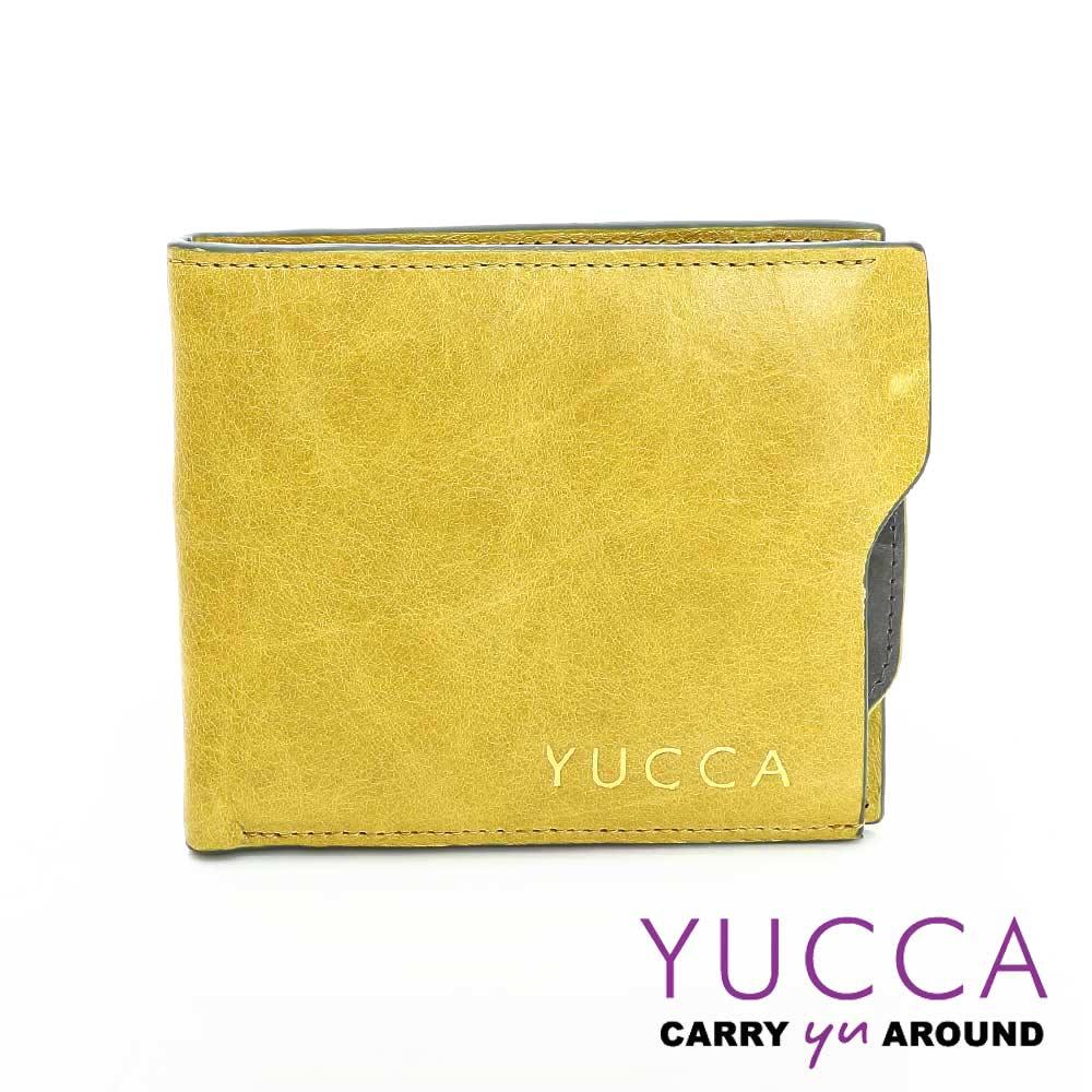 YUCCA -個性雙色系牛皮短夾(活動式卡夾)- 黃色- D0038052030