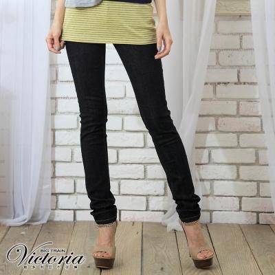 Victoria Victoria袋蓋窄直筒褲-女-深藍