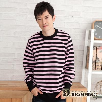 Dreamming 日韓暖感雙色圓領條紋針織毛衣-共三色