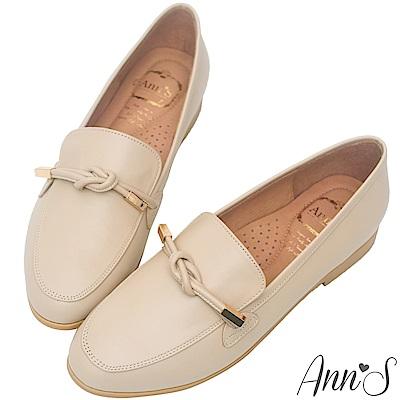 Ann'S知性文藝-雙結柔軟綿羊皮紳士平底鞋-杏