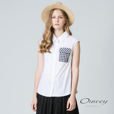 OUWEY歐薇 簡約拼接格紋背心襯衫(白)