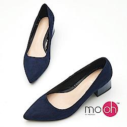 mo.oh-素面麂皮絨質感烤漆跟OL粗跟鞋-深藍