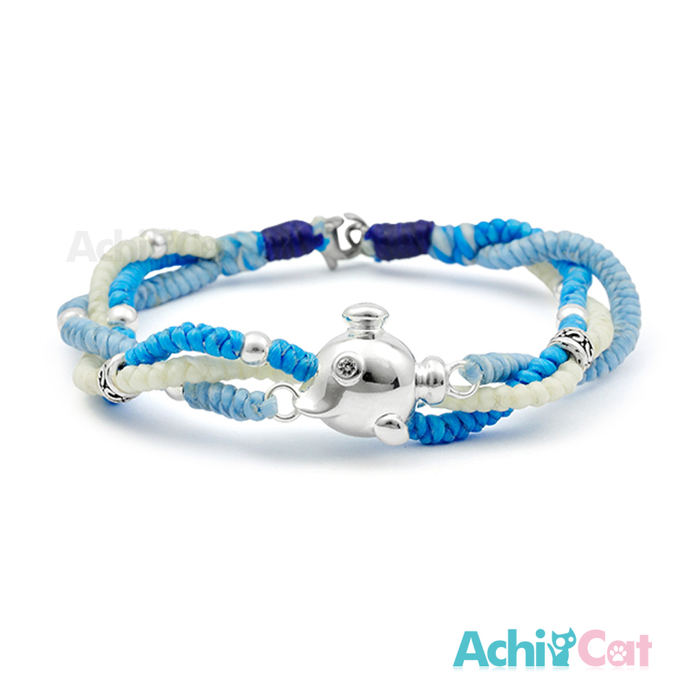 AchiCat 蠶絲蠟繩手鍊 925純銀飾 海底探險 幸運手繩 單個價格