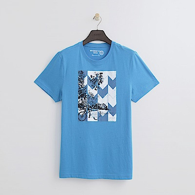 Hang Ten - 男裝 - 有機棉 清涼夏日印圖-藍色