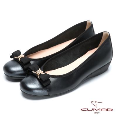 CUMAR氣質美人 珍珠水鑽裝飾真皮厚底鞋-黑色