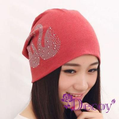 Decoy-水鑽天鵝-輕巧男女保暖布帽-紅