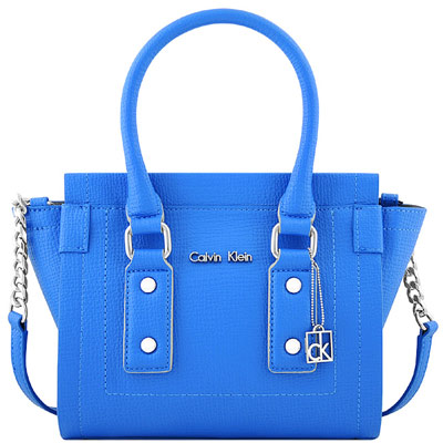 Calvin Klein 藍色皮革壓紋鍊帶斜背/醫生包