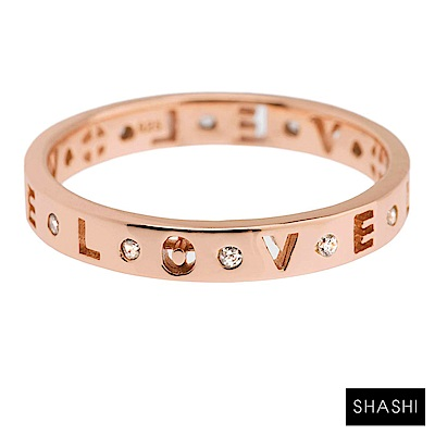 SHASHI 紐約品牌 Love 簍空刻字鑲鑽玫瑰金戒指 求婚戒 定情戒