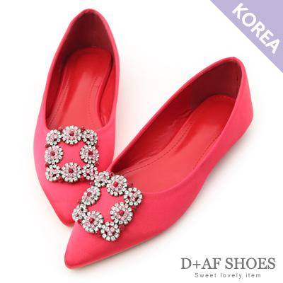 D+AF 華麗浪漫.方形水鑽飾釦尖頭平底鞋*紅