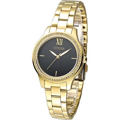 CITIZEN 絕美之城晶鑽女錶(EL3082-55E)-黑x鍍金/32mm