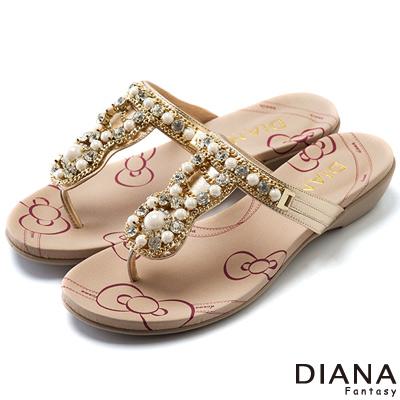 DIANA 異國風情--珍珠鍊條真皮夾腳拖鞋-金