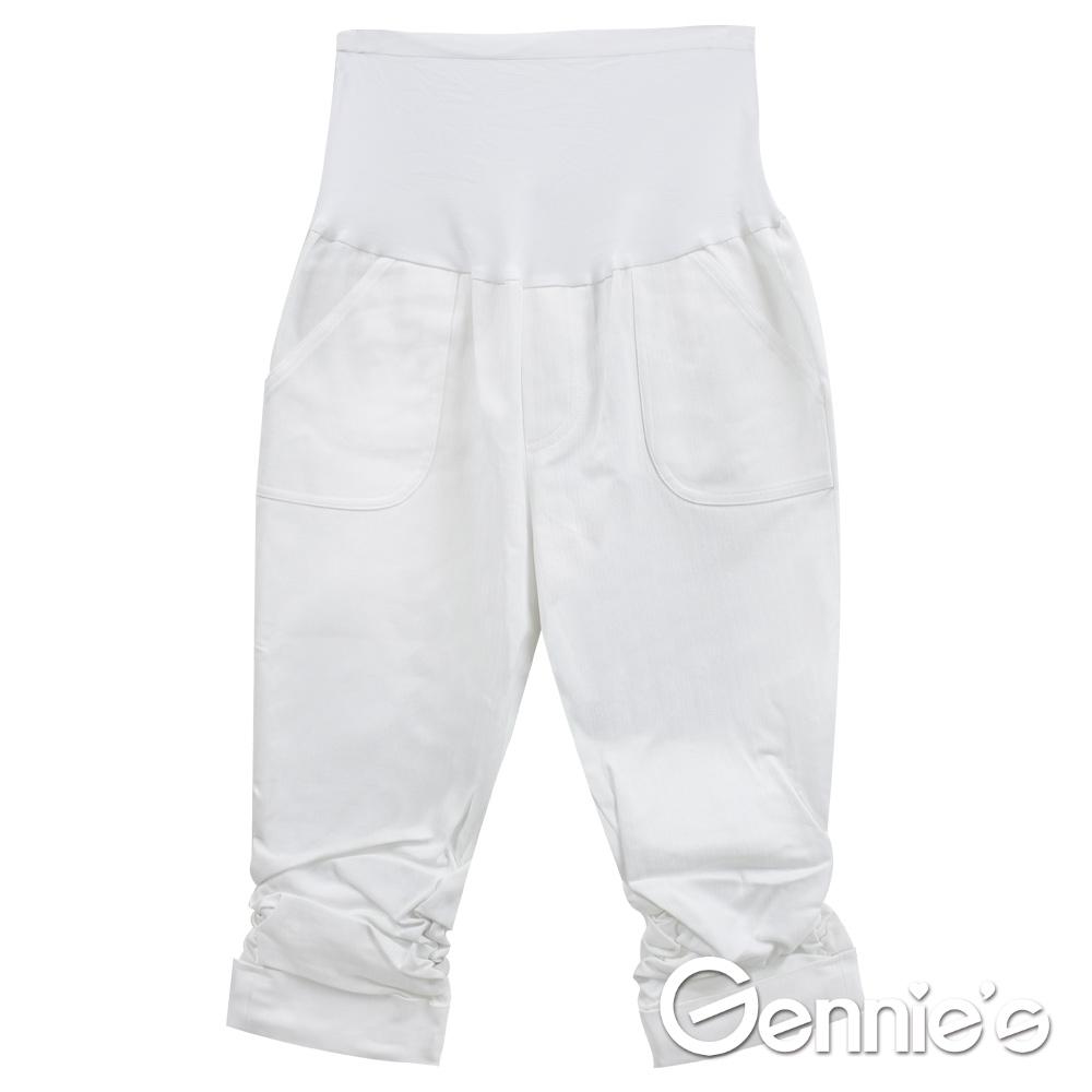 Gennies專櫃-實搭簡約風格春夏孕婦七分褲(G4V87)條紋白