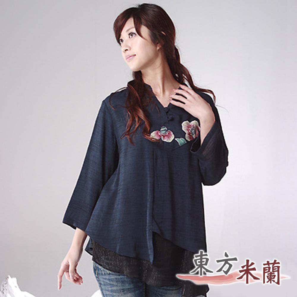 【東方米蘭】魅力中國風‧深藍色七分袖手繪花上衣