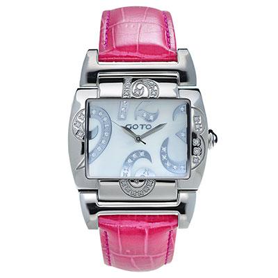 GOTO 浪漫甜心愛鑲鑽腕錶-白x桃紅皮/39mm