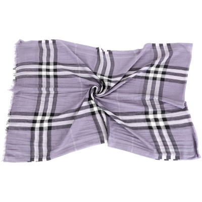 BURBERRY 格紋羊毛絲綢圍巾(紫色)
