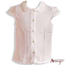 甜美荷葉公主袖線條壓紋短袖上衣*9162粉