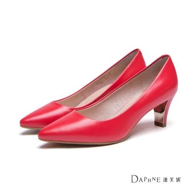 達芙妮DAPHNE-高跟鞋-尖頭純色羊皮金屬中跟鞋-紅8H