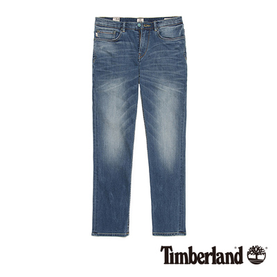 Timberland-男款靛藍色刷色透氣牛仔長褲