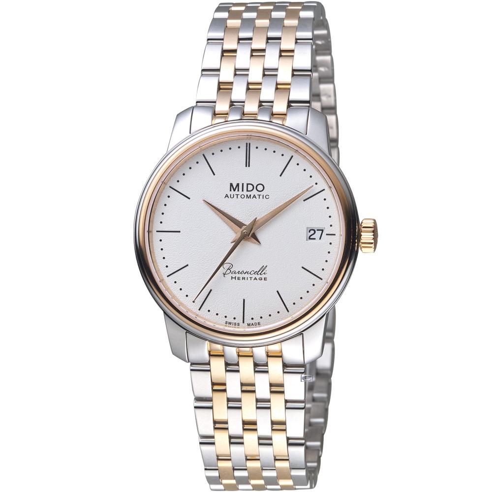 MIDO美度錶 BARONCELLI 永恆系列III雙色簡約女腕錶 -白x玫瑰金/33mm