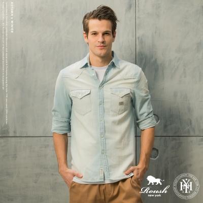 ROUSH (Slim Fit) 復古懷舊水洗牛仔襯衫 (2色)