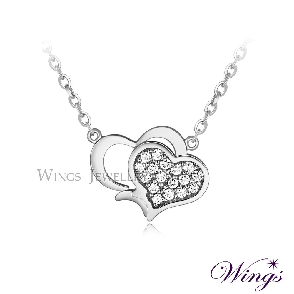 Wings 雙心奇緣 閃耀進口方晶鋯石美鑽精鍍白K金項鍊