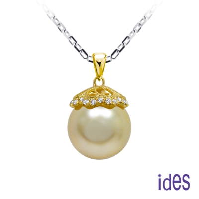 ides愛蒂思 天然南洋珠/金色珍珠項鍊11mm