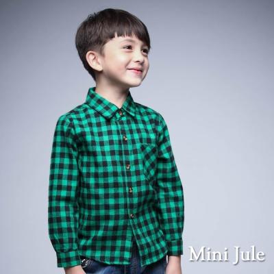 Mini Jule 童裝-襯衫 格紋單口袋棉質長袖襯衫(綠)