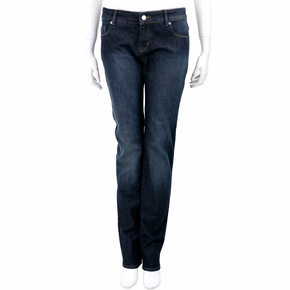 LOVE MOSCHINO 愛心刺繡口袋深藍刷色直筒牛仔褲