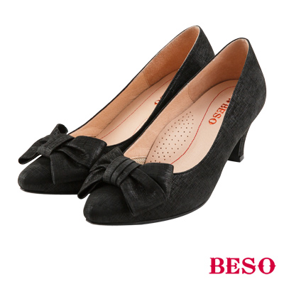 BESO 典雅氣質 全真皮閃耀立體蝴蝶結跟鞋~黑