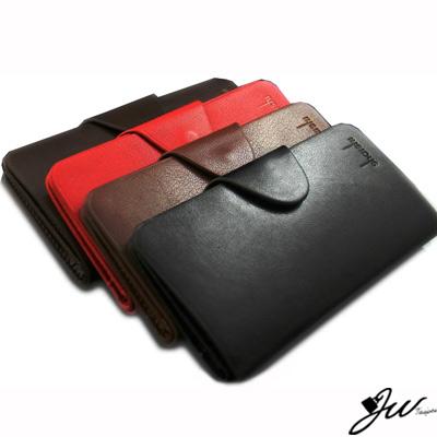 JW真皮皮夾新好男人質感素面壓扣長夾-共4色-黑