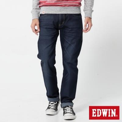 EDWIN 大尺碼中直筒 迦績褲無接縫牛仔褲-男-原藍磨